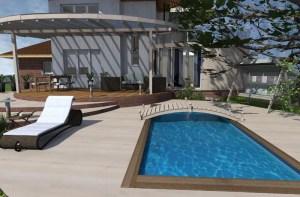 ArCADia BIM LT Architektur Erweiterung - 2D 3D CAD Original Rendering - Aussenansicht Einfamilienhaus mit Pool