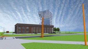 ArCADia BIM LT Architektur Erweiterung - 2D 3D CAD Original Rendering - Aussenansicht alte Fabrikhalle mit modernem Bürogebäude