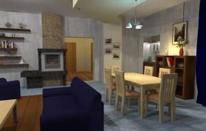 ArCADia BIM LT Architektur Erweiterung - 2D 3D CAD Original Rendering - Essbereich mit angrenzendem Wohnbereich mit Kamin