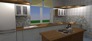 ArCADia BIM LT Architektur Erweiterung - 2D 3D CAD Original Rendering - Innenansicht Küche 2