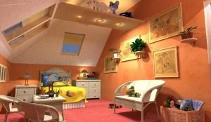 ArCADia BIM LT Architektur Erweiterung - 2D 3D CAD Original Rendering - Kinderzimmer Schlafzimmer