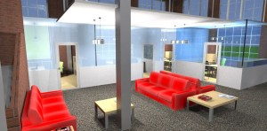 ArCADia BIM LT Architektur Erweiterung - 2D 3D CAD Original Rendering - Visualisierung Wartezimmer