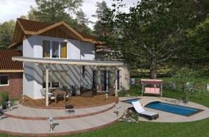 ArCADia BIM LT Architektur Erweiterung - 2D 3D CAD Original Rendering - idyllisches Einfamilienhaus mit Garten, Terrasse und Pool