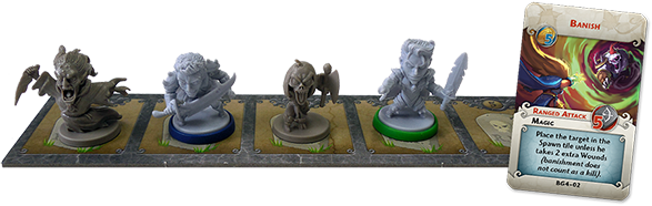 Beyond the Grave Spawn Tile with Heroes, New Monsters and the Banish card