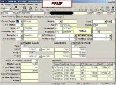 Value Tab PRMF screen