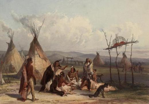 Funeral scaffold of a Sioux chief - Les Amérindiens, la mort et au-delà