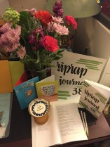 Gifts I received - island moonlight candle, flowers, pens, and 2 wonderful cards.