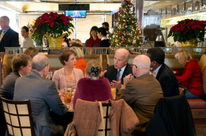 Vice President Joe Biden has lunch with Americans to discuss the importance of middle class tax cuts, at Metro 29 diner in Arlington, Virginia, Dec. 7, 2012. (Official White House Photo by David Lienemann)