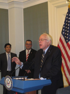 Sen. Bernie Sanders of Vermont, who organized the press conference, issued a strong defense of Social Security.