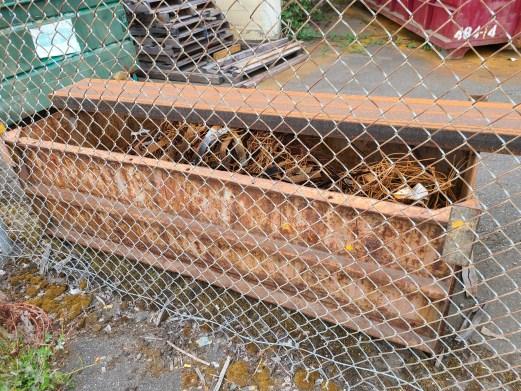 Figure 1: A steel bin full of rusted metal scraps.