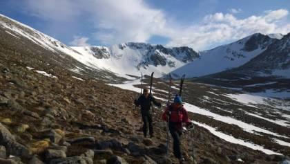 walking out of sneachda ski tour