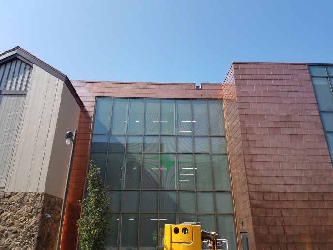 A building with exterior cladding