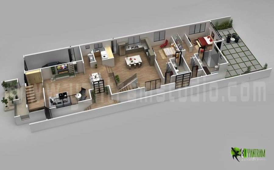 3D Floor Plan Design For Modern Home   ARCH student com www yantramstudio com  3D Floor Plan Design For Modern Home