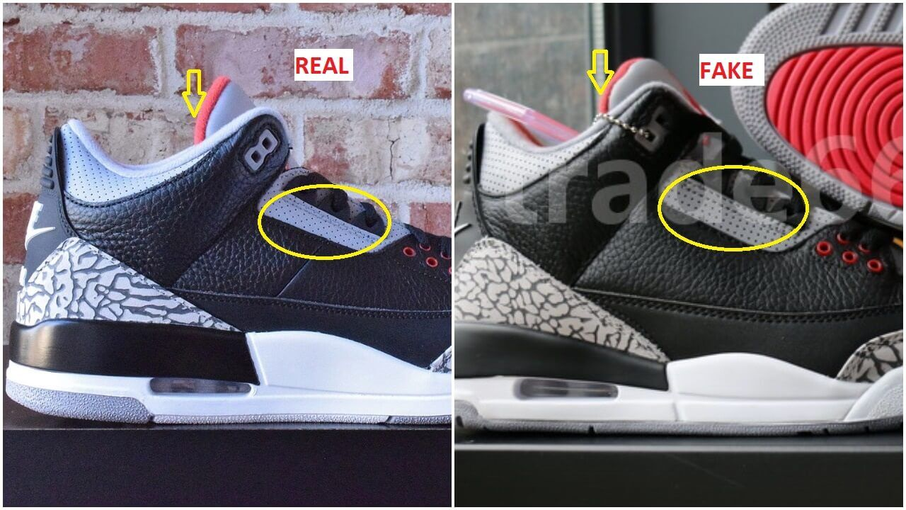Real VS Fake Air Jordan 3 Black Cement     ARCH USA Real VS Fake Air Jordan 3 Black Cement