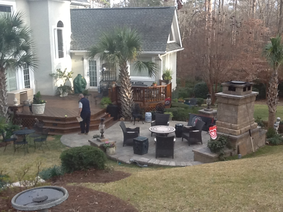 Central SC deck and patio combinations | Custom Decks ... on Patio With Deck Ideas id=49035