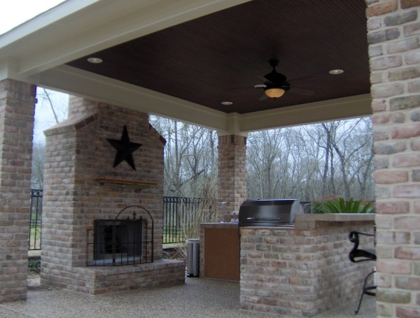 outdoor patio fireplace open porch | Archadeck of Charlotte