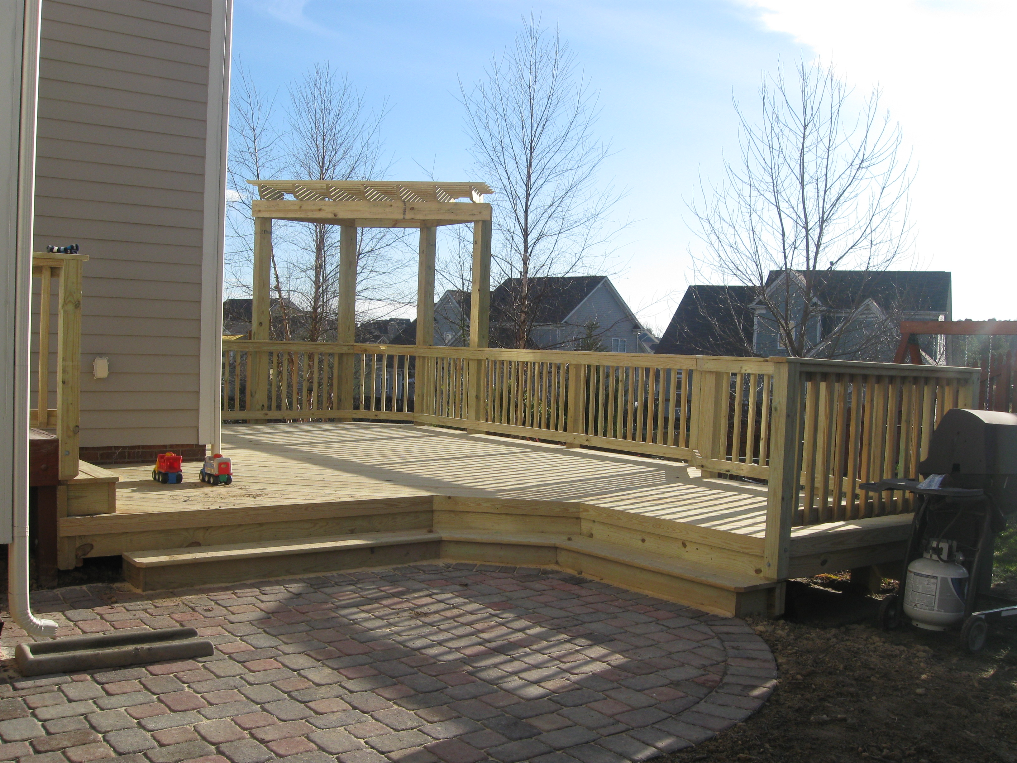 Deck and patio combination is a great solution for ... on Patio Stone Deck Ideas id=50803