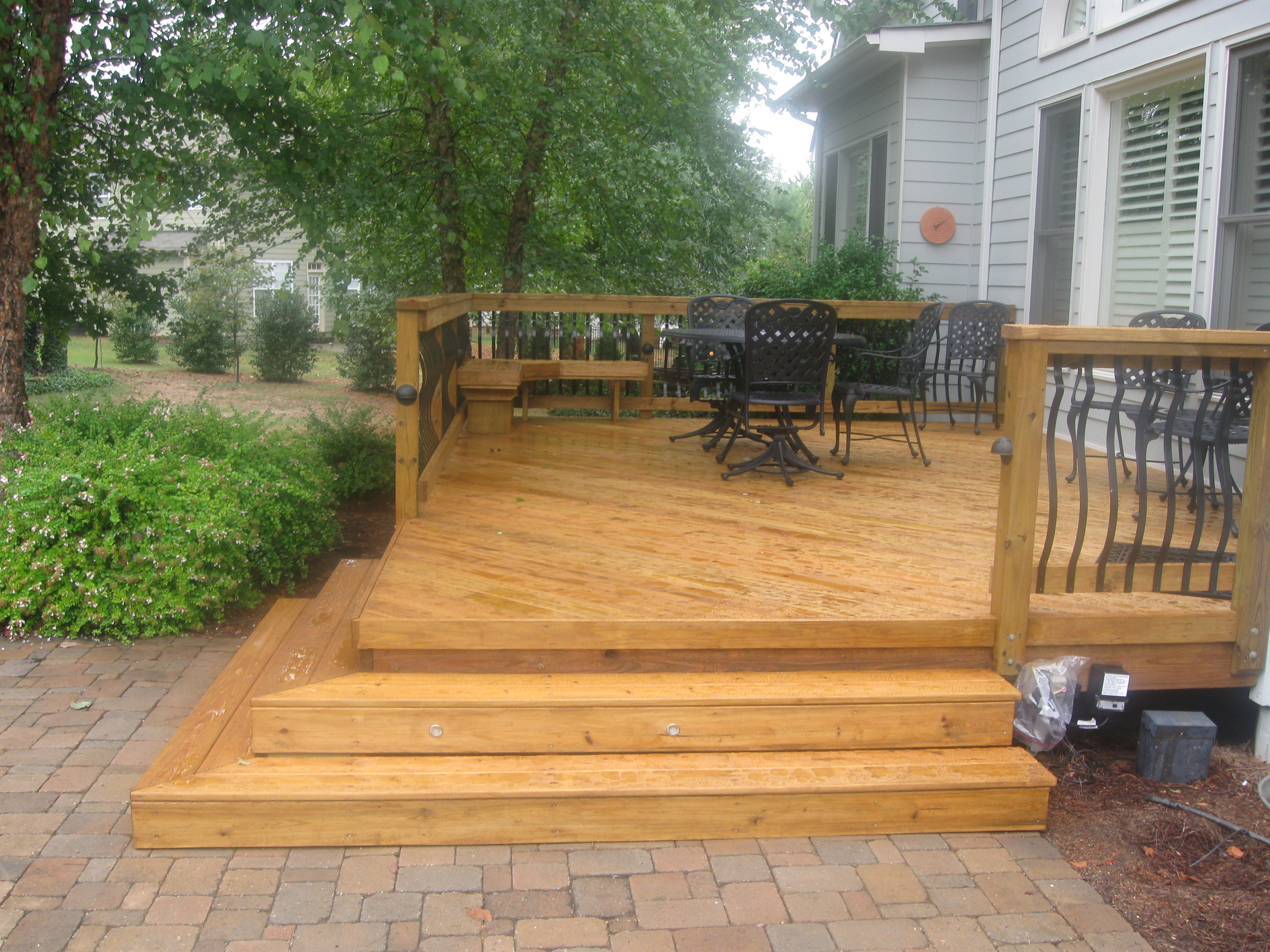 Patio Design, Small Decks, Open Stairs, Brick Patio ... on Wood Deck Ideas For Backyard  id=52827