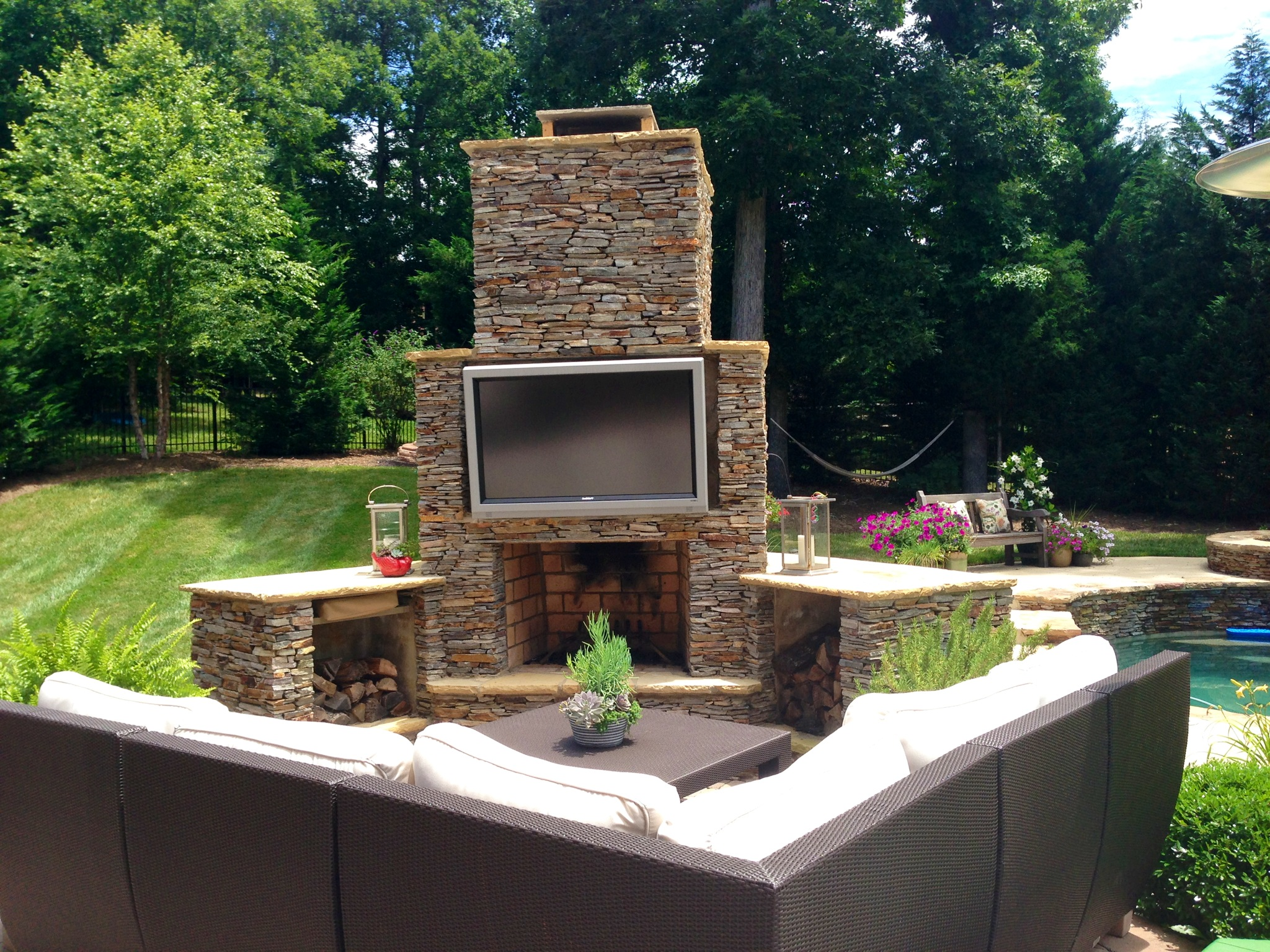 How To Build A Backyard Man Cave | St. Louis decks ... on Fireplace In Yard id=47753