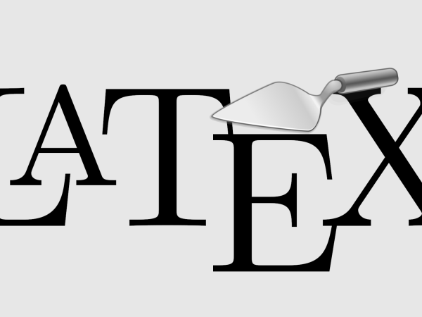 LaTeX Logo and trowel on light grey background