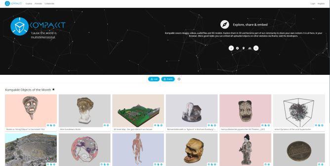 Screenshot showing the start page of Kompakkt