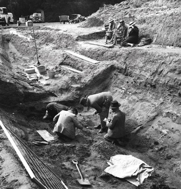 Archaeologists excavating Sutton Hoo's Mound 1 ship burial, 80 years ago. The investigation was sparked by the interest of landowner Edith Pretty (shown centre, watching the dig from a cane chair).