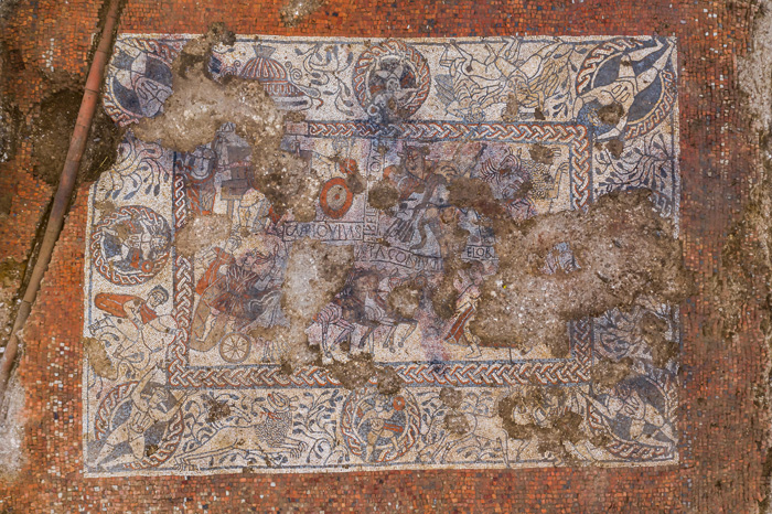 The Boxford mosaic in all its glory.  Its main subject is the story of Pelops and his chariot race against King Oenomaus of Pisa, but other dynamic motifs depict different legendary heroes, including Hercules and Bellerophon (the latter accompanied by  his famous winged horse, Pegasus).