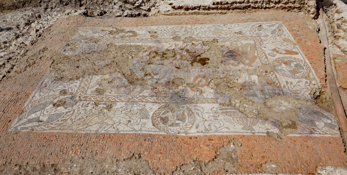 Dating back c.1,700 years, this spectacular tessellated floor excavated at Mud Hole Villa in the Berkshire village of Boxford is thought to be one of the finest Roman mosaics ever found in Britain.