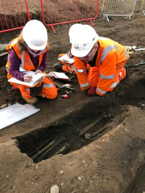 Archaeologists and osteologists examining a burial in an earth-cut grave.