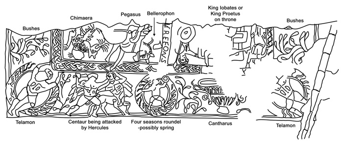 Drawing of a section of the mosaic showing the legend of Bellerophon and Chimaera