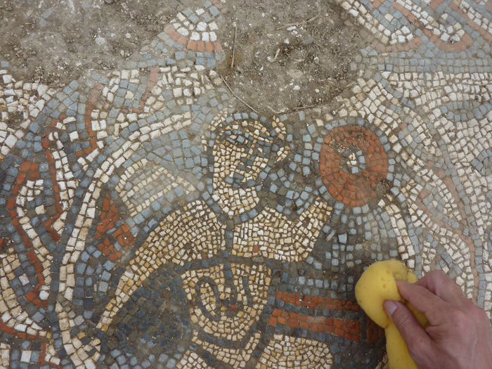 On each side of the mosaic, amorini (cupids) burst out from decorative roundels, holding triumphal wreaths. This example also clutches a linchpin, in reference to the main subject of the mosaic, Pelops' chariot race.