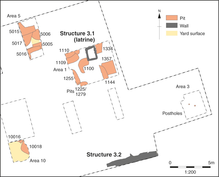 A plan showing the late 11th-/12th- century features discovered on the site