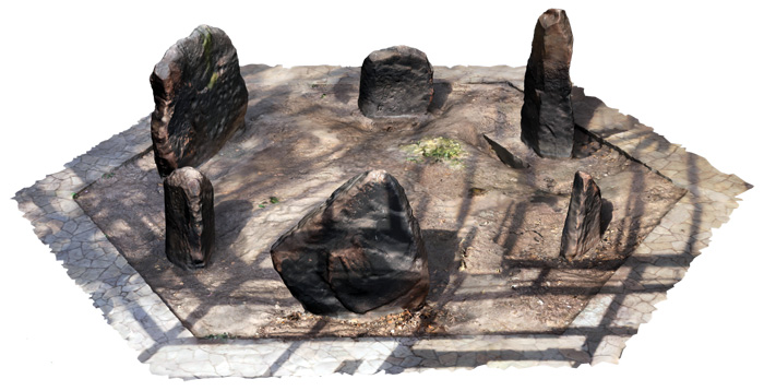 Created using laser scans of the Calder stones during the recent conservation work, this digital model shows the stones in their familiar, if inaccurate, circular arrangement, and the shadow of the 1950s glasshouse that once contained them.