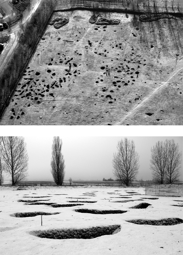 Some of the excavated Iron Age pits, photographed on a snowy day during the investigation.