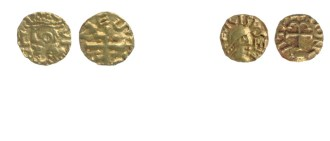 Two gold coins, each shown front and back