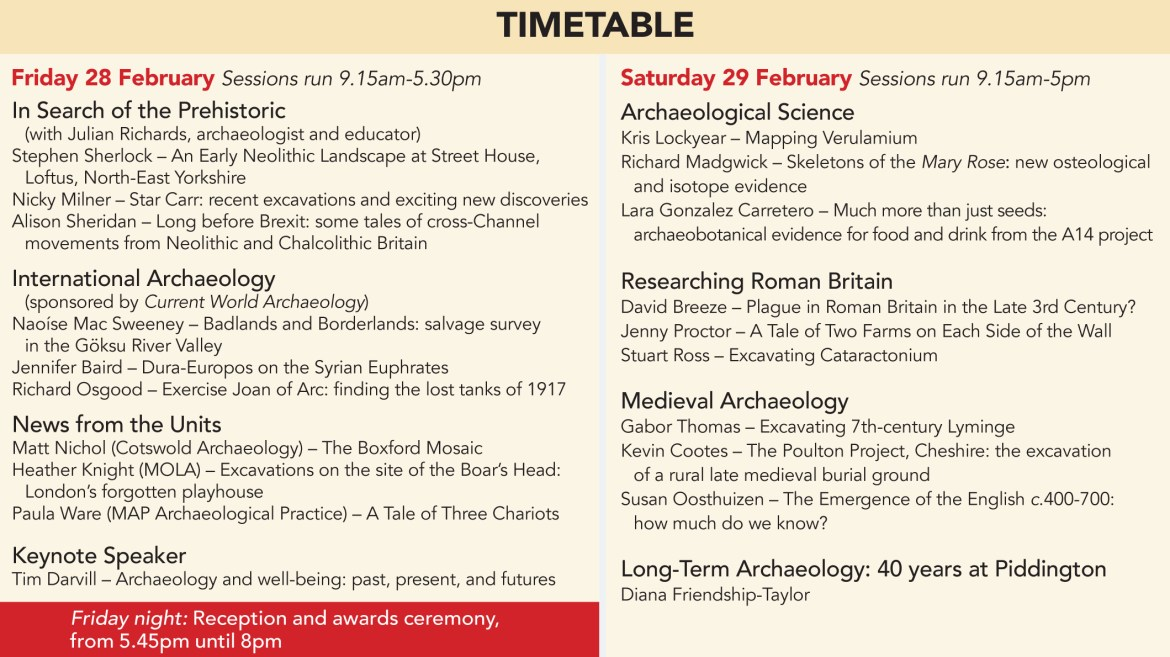 Current Archaeology Live! 2020 timetable