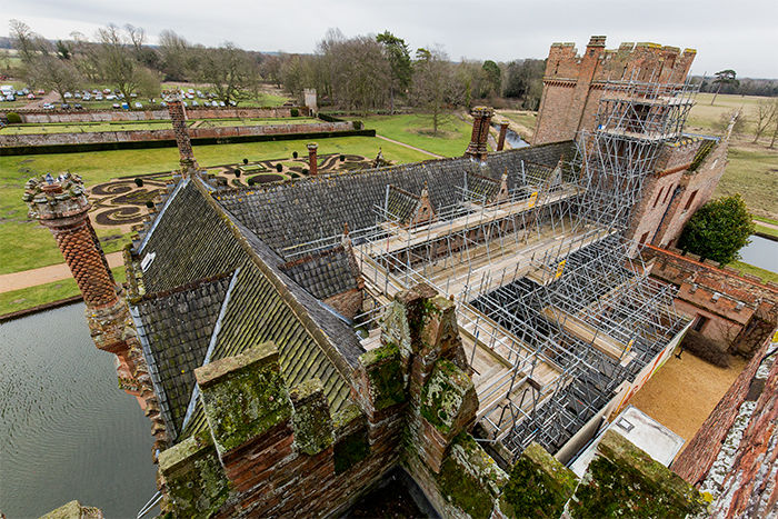 The roof of the Hall with scaffolding
