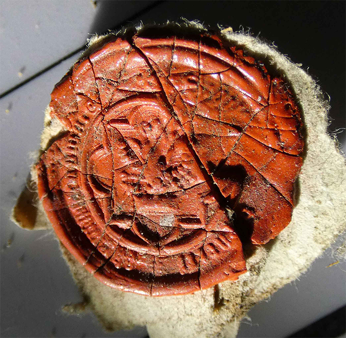 A red wax seal