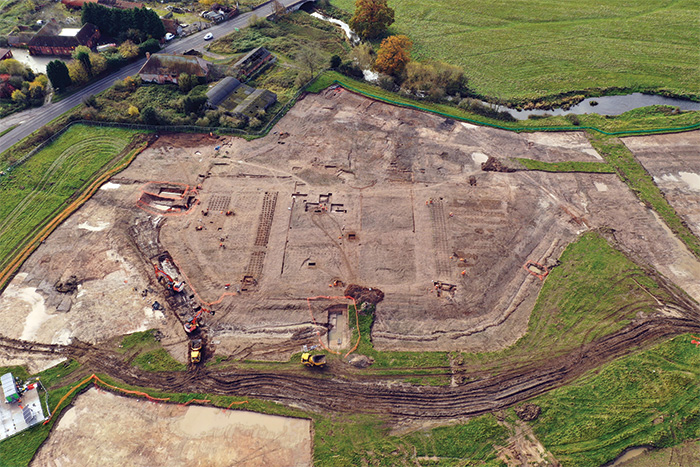 Aerial view of excavation of Coleshill Manor including its gardens