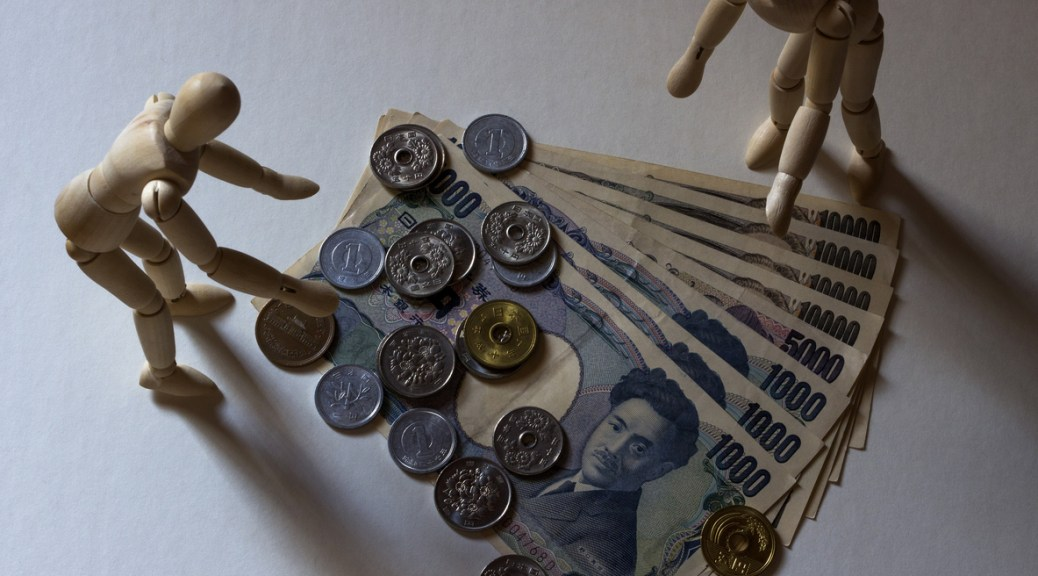 Mannequin and japanese currency