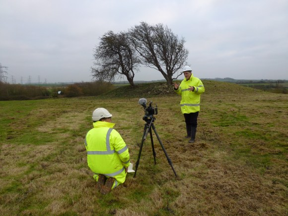 Justin Owen filming Bob Croft, County Archaeologist for the South West Heritage Trust for 'The Folklore of Wick Barrow'.