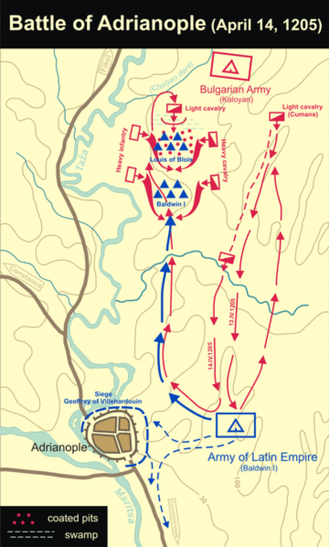 A map explaining the course of the Battle of Adrianople on April 14, 1205. The Crusader knights besieging the rebelling city of Adrianople were harassed and lured into pursuit by lightly armored Cuman cavalry, and fell into the ambush of the heavily armored Bulgarian forces. Map: Kandi, Wikipedia