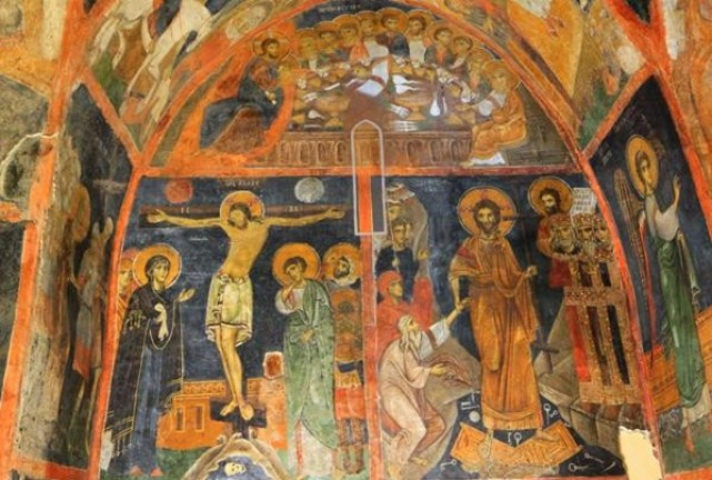 The mural of the crucifixion of Jesus Christ in the Boyana Church in Bulgaria's capital Sofia. A total of 240 of the murals of the church are dated to 1259 AD have been seen as Early Renaissance art by many scholars. Photo: Archaeology in Bulgaria
