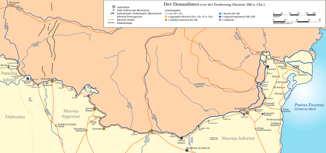 A map showing the most important Roman strongholds along the limes, the Lower Danube frontier of the Roman Empire. Novae is located at the southernmost point of the Danube. Map: Zeigelbrener, Wikipedia