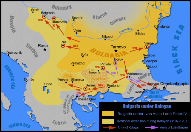 Another map showing the territorial expansion of Bulgaria achieved during the reign of Tsar Kaloyan (r.1197-1207 AD). Map: Kandi, Wikipedia