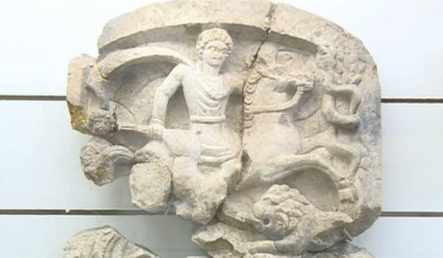 A relief of the supreme Ancient Thracian god, the Thracian Horseman, also known as god Heros, from the Pernik Regional Museum of History's collection of artifacts from the ancient asclepion nearby. Photo: TV grab from News7