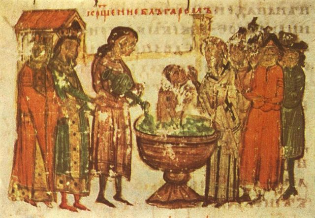 The baptism of the Bulgarians as Christians in 865 AD. A miniature from the Manasses Chronicle, 11th century AD. Photo: Wikipedia