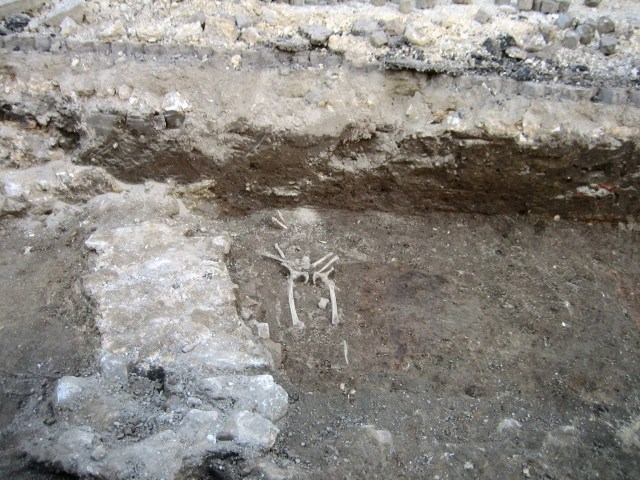 A skeleton from the period of the Ottoman Empire has also been found during the rescue excavations of ancient Durostorum and medieval Drastar in Bulgaria's Silistra. Photo: Krasimir Koev