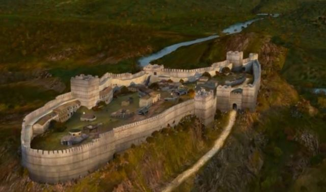 """A computer generated model reconstruction of what the medieval Bulgarian fortress Urvich located 15 km southeast of Sofia looked like in the 13th-14th century AD. Photo: TV grab from """"5 Minutes of Sofia"""" TV Series"""