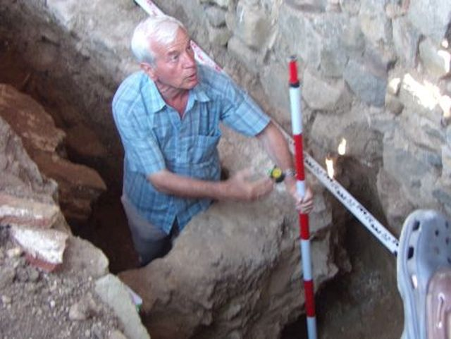 Archaeologist Kazimir Popkonstantinov at the entrance of the newly found Early Christian tomb of a senior clergyman in the St. John the Baptist Monastery on St. Ivan (St. John) Island in the Black Sea, off the coast of Bulgaria's Sozopol where in 2010 he found relics of St. John the Baptist. Photo: BurgasNews